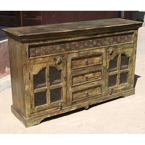 Turn Back The Hands Of Time With Oklahoma Farmhouse Distressed Antique Sideboard Buffet Credenza This Solid Indian Rosewood Is Handcrafted