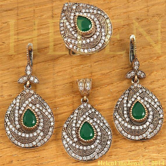 Хюррем Султан Set  Drop Shape Emerald Color by helenfinejewels