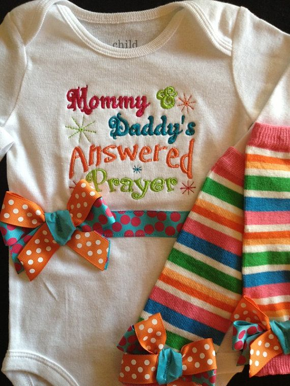 Answered Prayer Monogrammed Onesie & Leg Warmers with Bows...Bodysuit  for BaBy GiRl