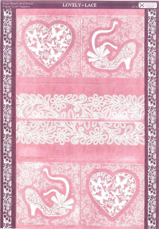 Kanban Crafts - Lovely in Lace - die cut toppers - Rose Hearts and Shoes