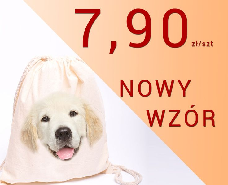 Plecak bawełniany z psem wzór LABLADOR worek ekologiczny na buty