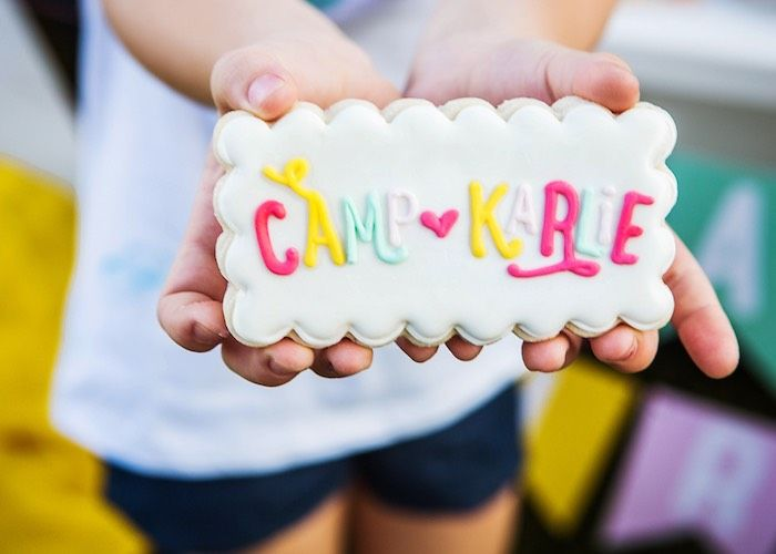 Camp Karlie sugar cookie from a Colorful Camping Glamping Birthday Party at Kara's Party Ideas.