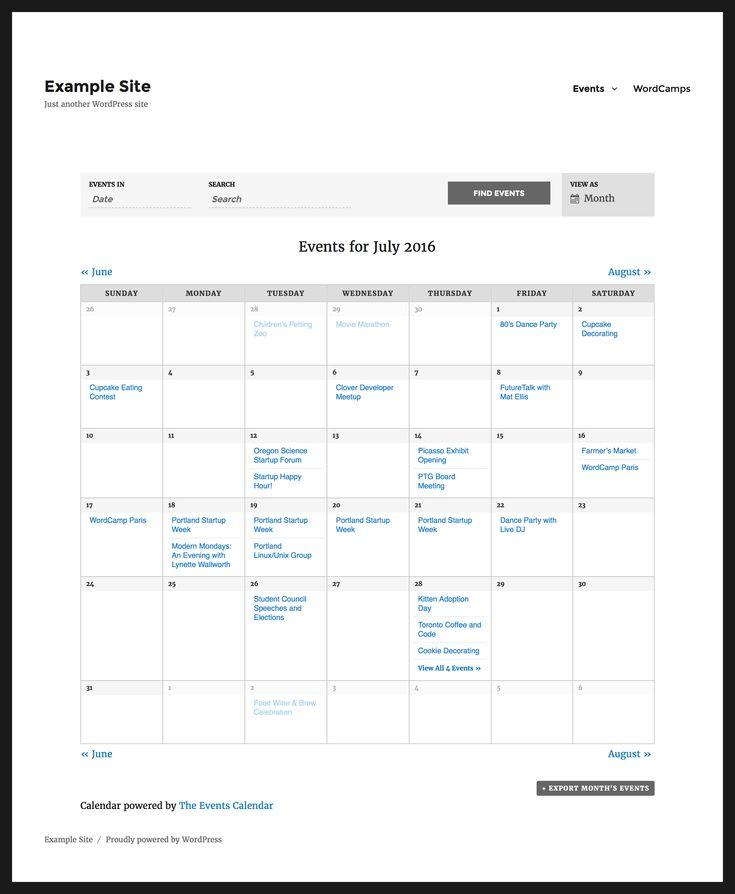 the-events-calendar plugin
