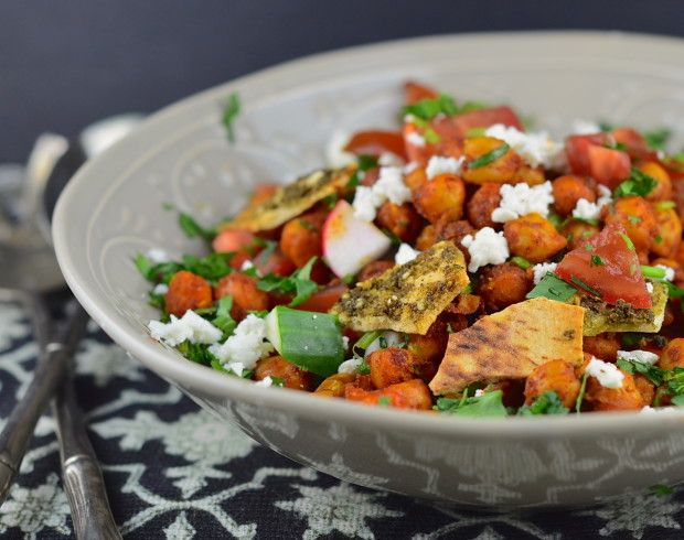 This salad is a complete meal with zaatar pita croutons, feta cheese, spiced check peas and fresh crunchy veggies