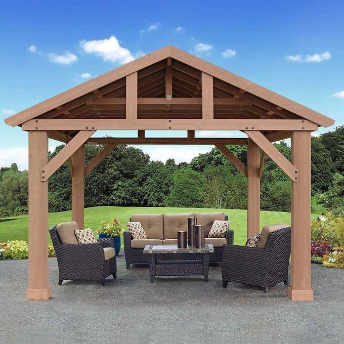 Outdoor Wooden Gazebo 14x12 Pavilion Metal Roof For Patio Furniture Set Hot Tubs 829377474432 Ebay Outdoor Pergola Pergola Patio Backyard Pergola