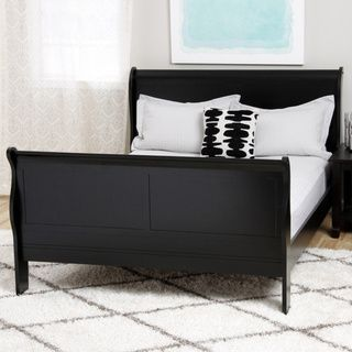 tribecca home canterbury louis phillip black queensize sleigh bed overstock shopping