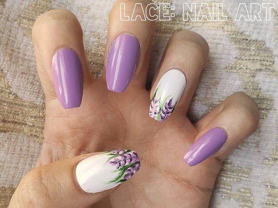 Lilac Flower False Nails Purple White Green Leaves Hand Etsy Lilac Nails Purple Nails Purple Nail Designs