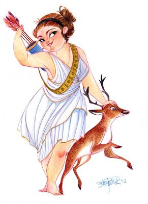 Artemis, Greek goddess of the hunt by Betsy Bauer<--- I thought Artemis had  a more.