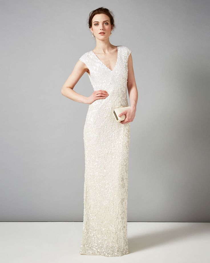 collection 8 dresses | Neutral Marlene Embellished Full Length Dress | Phase Eight