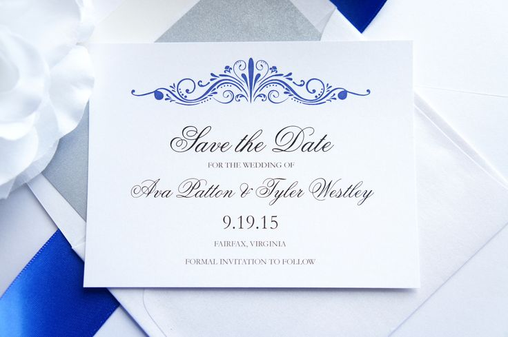 Elegant Save the Date Card - Royal Blue, Save the Dates, Formal Save the Date, Regal, Sophisticated, Classy - DEPOSIT to get started