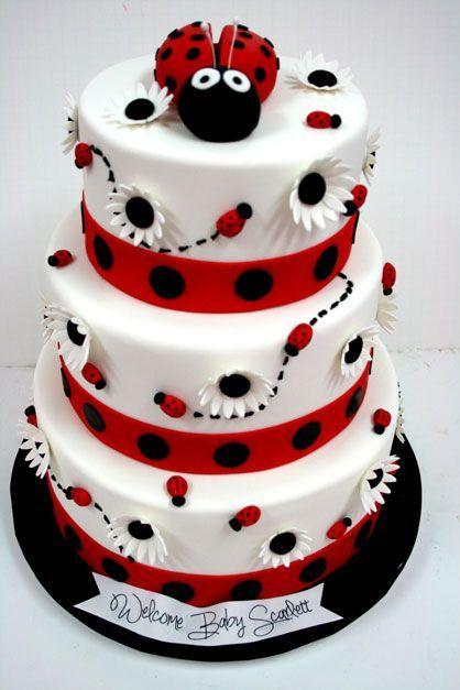 best ladybug cakes images on   ladybug cakes, Baby shower invitation