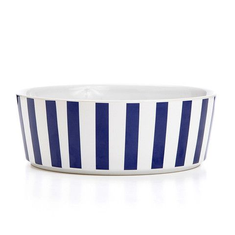 Stripey Soiree Ceramic Dog Bowl - Navy | PupLife Dog Supplies
