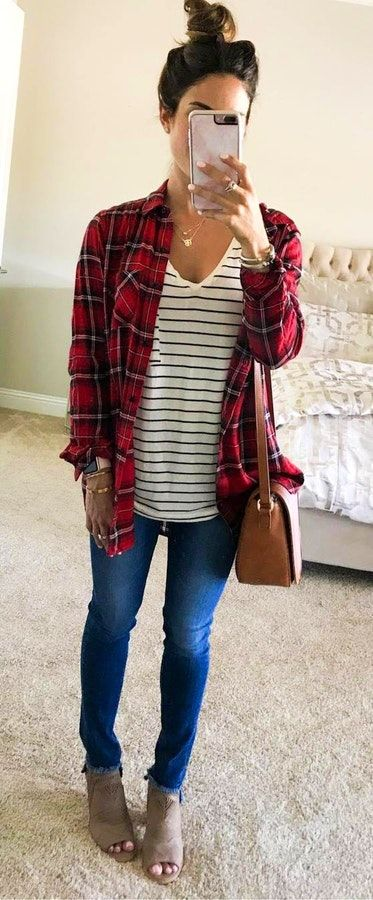 f6fbb6bb37  fall  outfits women s blue denim fitted jeans and red and black plaid  long-sleeve collared shirt