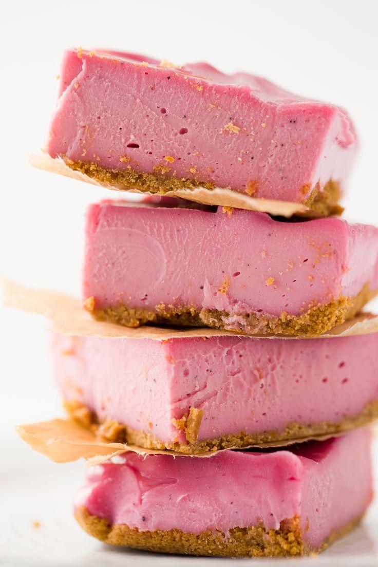 Pink Flamingo Vegan Cheesecake Bars // cashews, coconut oil, vanilla pod or extract, grapefruit or lemon or orange, maple syrup, pitaya puree or fresh dragonfruit, vegan ginger biscuits
