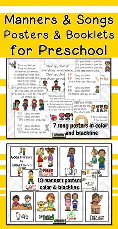 10 positive behavior posters and 7 preschool songs for welcome, goodbye, circle time, snack, and cleanup. Perfect for PreK, early childhood special education, autism, and preschool classrooms.