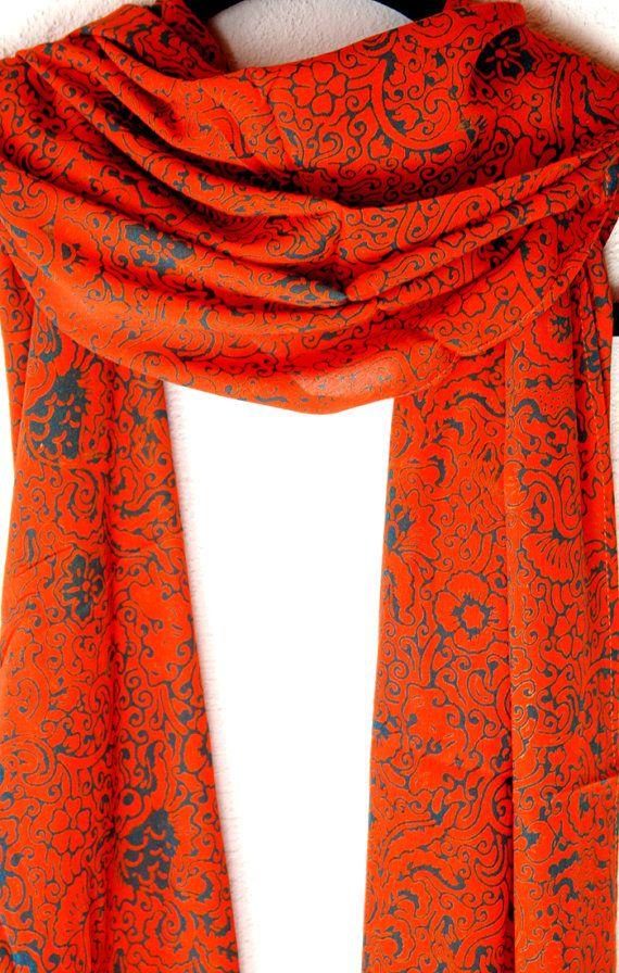 orange and blue soft scarf womens clothing fashion