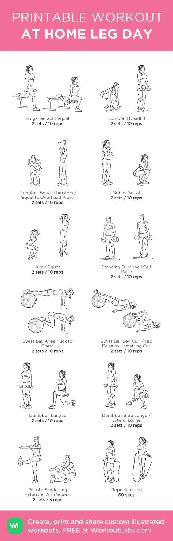 At-home leg day workout. Build custom workout routines or browse pre-made workouts #workouts::