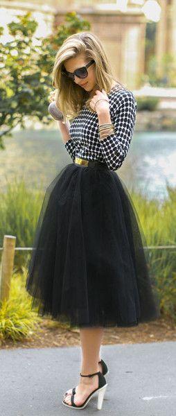 That's Amore Tulle #Midi Skirt - Black