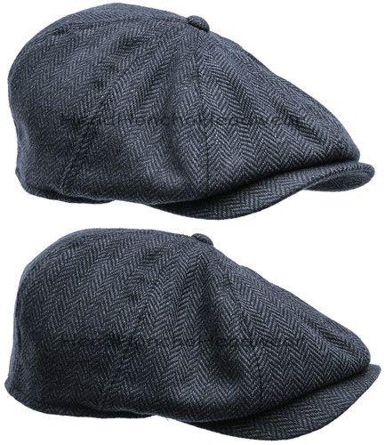 Blue Wool Tweed Herringbone Gatsby Cap Men Newsboy Ivy Hat Golf Driving Cabbie | eBay
