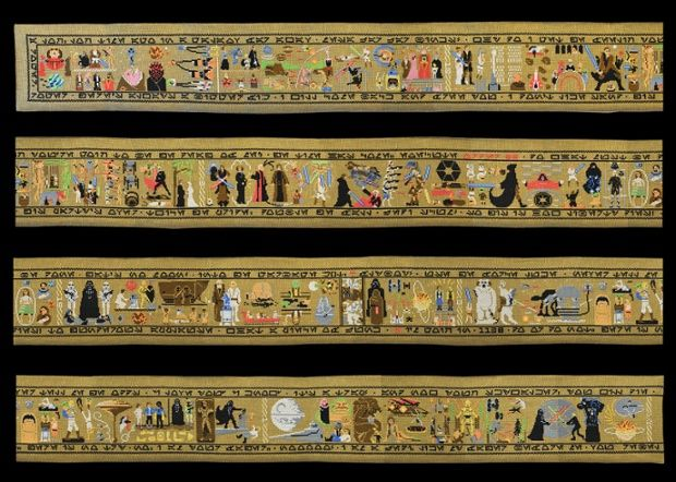 Yes, those are lightsabers, and stormtroopers and the Death Star. No, this isn't a historical tapestry