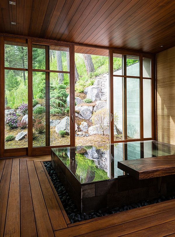Japanese Design-Inspired Pool House And Spa Showcases Stunning Lake views