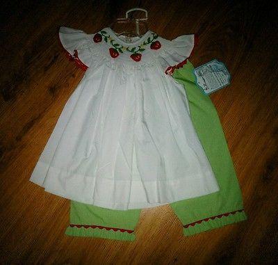 Girl's Remember Nguyen Red Green Gingham Capri Smocked Strawberry Set Size 4T