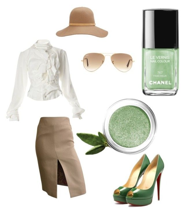 """""""Welcome autumn..beige and green for work"""" by blair1969w on Polyvore featuring moda, rag & bone, Ray-Ban, Dolce&Gabbana, Vivienne Westwood, Lise Watier e Chanel"""
