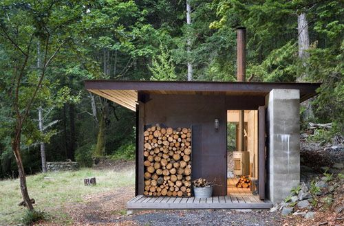 .Green Building, Tiny Cabin, Tiny House, Modern Cabin, Small House, Olson Kundig, Pacific Northwest, Firewood Storage, British Columbia