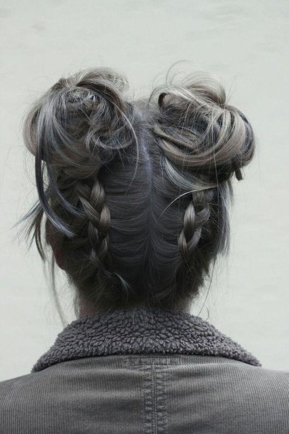 siyah gri saç modelleri