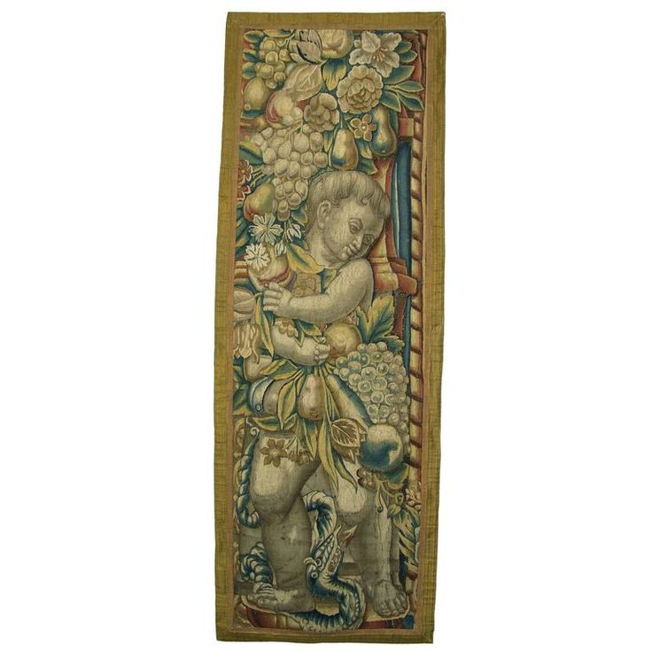 Antique Brussels Baroque Tapestry 9k  67 in.Hx23 in.W | From a unique collection of antique and modern tapestries at https://www.1stdibs.com/furniture/wall-decorations/tapestry/