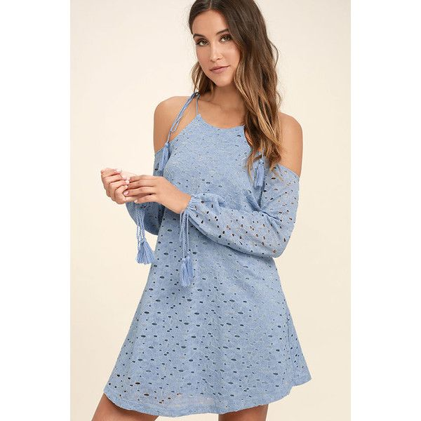 J.O.A. Soul Mate Light Blue Lace Off-the-Shoulder Dress ($83) found on Polyvore featuring women's fashion, dresses, blue, long-sleeve floral dresses, floral shift dress, long sleeve floral dress, blue lace dress and off the shoulder dress