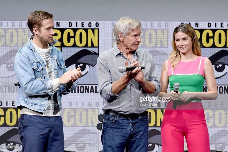 Actors Ryan Gosling, Harrison Ford and Ana de Armas attend the Warner Bros. Pictures Presentation during Comic-Con International 2017 at San Diego Convention Center on July 22, 2017 in San Diego, California.