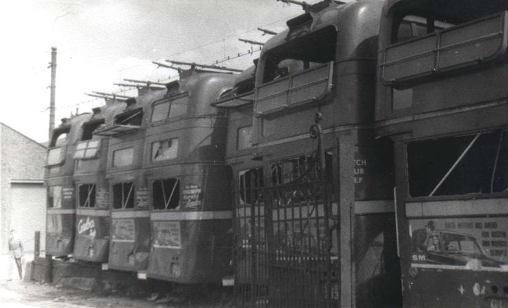 A batch of London trolleybuses waiting for the scrapyard.