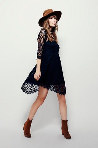 Floral Mesh Lace Dress | Free People Floral embroidered mesh mini dress with lightly pleated skirt.