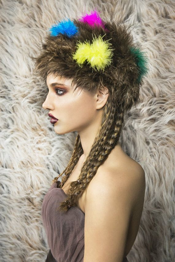 Marabou hat brown neon colors pink emerald by NATIPUREIDEA on Etsy