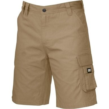 Caterpillar's stylish DL Shorts have a contrast inside waistband with gripper tape and a CAT logo cell phone pocket on the left thigh, with a velcro closure.