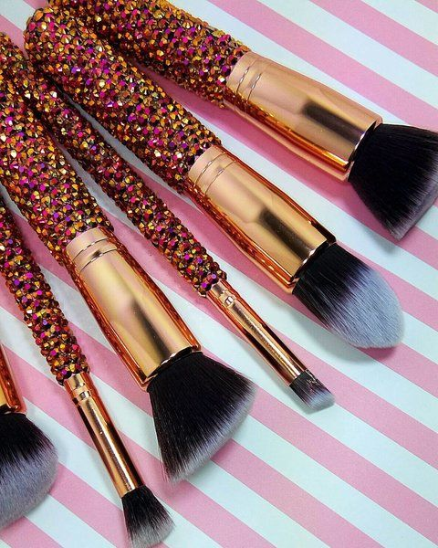 5PC Face Rose Gold Bling Kabuki Brush Set $65 #valentinesday #mardigras #party #celebrate #beauty #gifts #love #happiness #valentine #makeup #cosmetics #shopping #valentinesdaygiftideas #eyeshadow #pigments #eyeshadowpalette #eyeshadow #pigments #matte #metallic #beauty #tips #hacks #makeup #diy #women #natural #products #tutorial #ideas #collection #prom #wedding #everyday #affordable #cheap #dupes #tarte #packaging #essence #nyx #mac #kylie #benefit #elf #toofaced #lush #milani…
