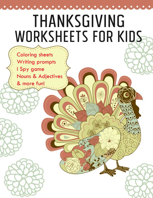 Thanksgiving Worksheets {free printables} - Thanksgiving writing prompts, Thanksgiving coloring pages and other fun printables for kids to use