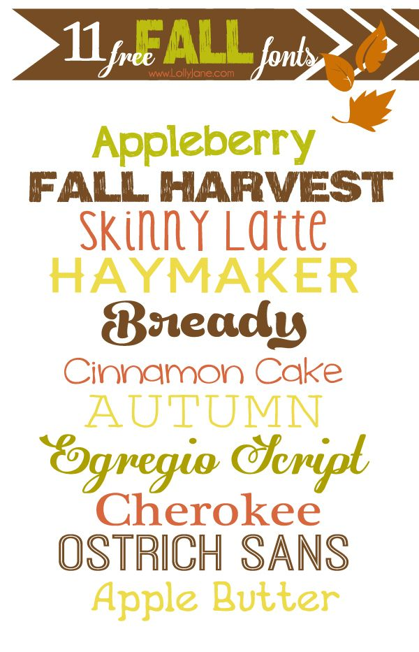 11 free fall fonts via lollyjane.com! #freefonts #fallfonts