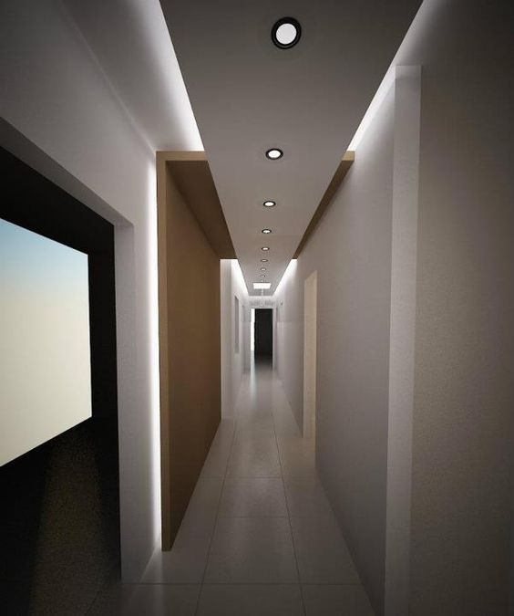uplit floating ceiling intersects with wood back lit folding wall