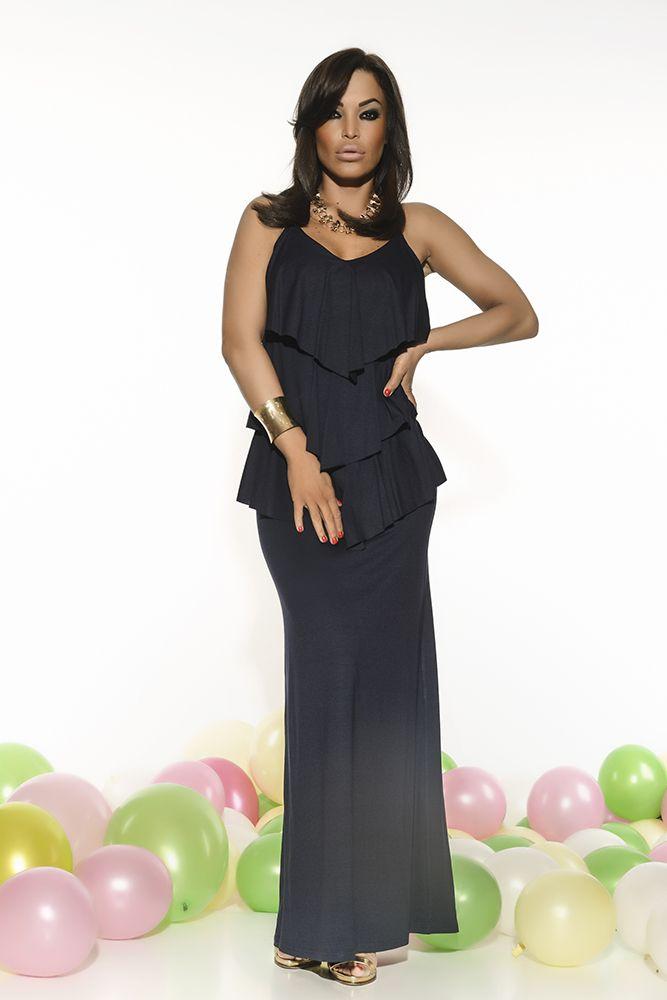 MissQ Naturalness DarkBlue Dress, sleeveless, fabric overlay, elastic fabric