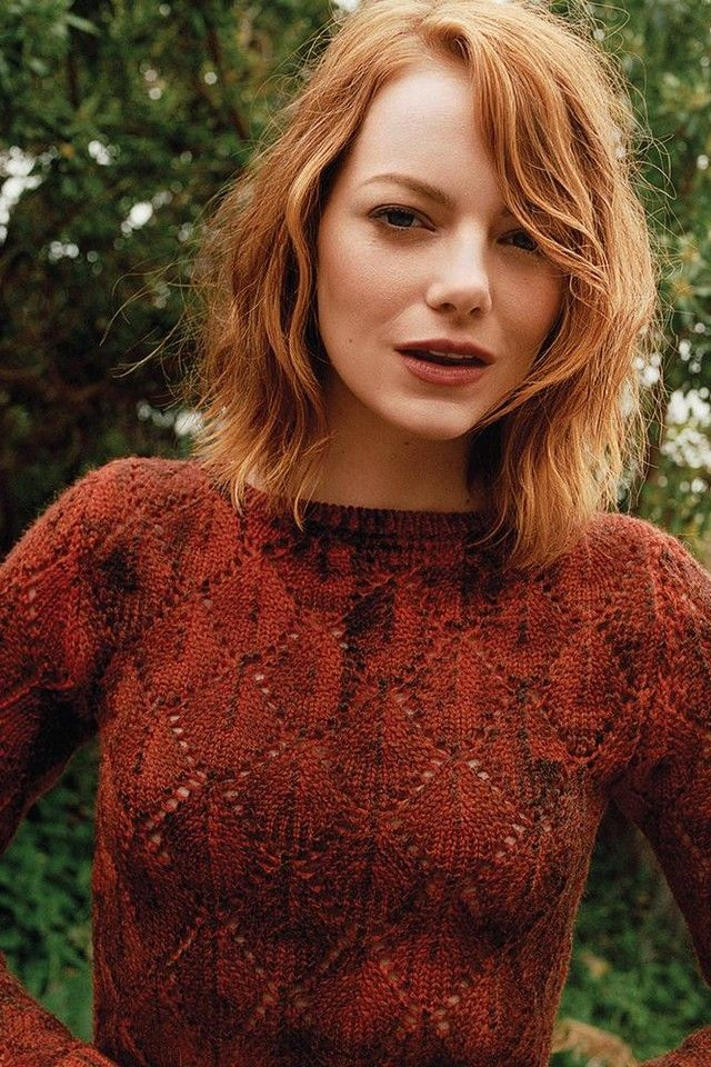Emma Stone wearing red sweater for WSJ magazine photoshoot | LookLive
