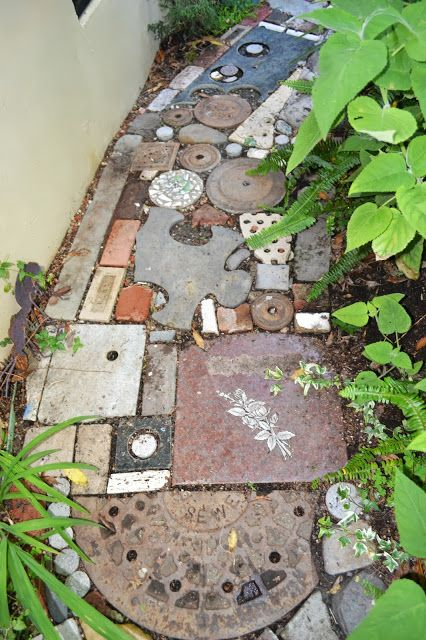 Garden Walkway Ideas diy garden paths creative materials A Marvelous Found Object Pathway At The Organic Mechanics Paradise Garden From The Outlaw