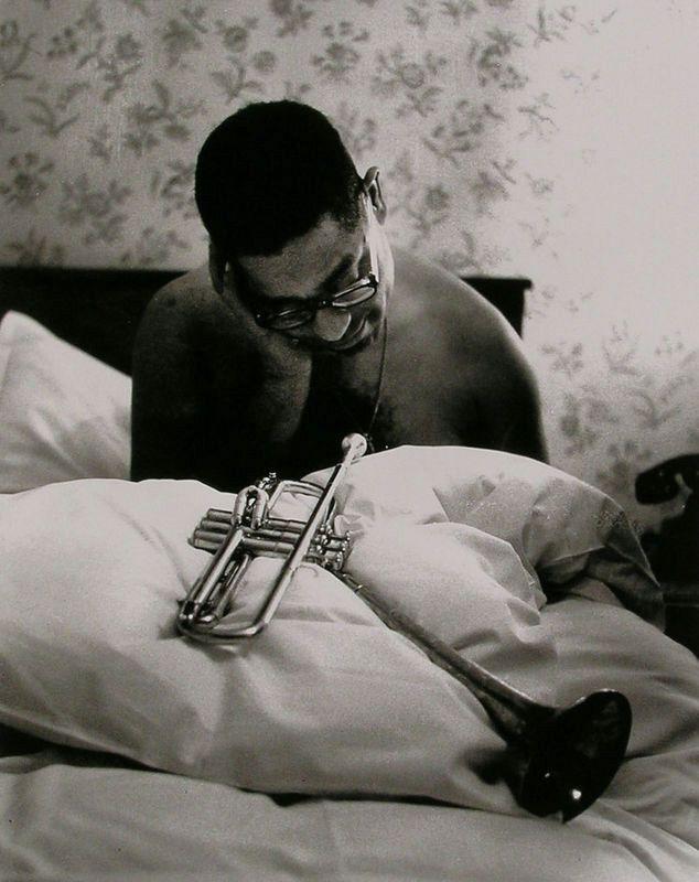 Dizzy Gillespie at the hotel Hessischer Hof, Frankfurt, 1956 -by Robert Lebeck