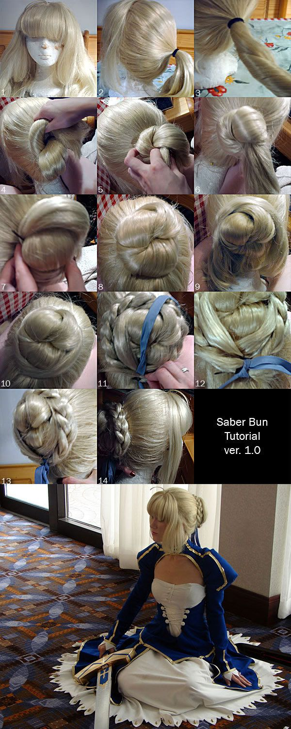 Saber Hair Styling Tutorial by RuffleButtCosplay  What you'll need: - One full length, long wig (I'm working with Kelly from Cosworx. 23 inches) - 1 Pack of extensions (I actually cut up another blonde wig I wasn't using) - (With extensions) A long braid - 1 Wig head - 1 Ponytail holder (hair tie) - Ribbon - Several bobby pins   1. Make sure wig is secure on wig head with several sewing pins along the cap rim. 2. Pull wig into a ponytail, about mid-back of the wig head. 3. Twist the ponytail…