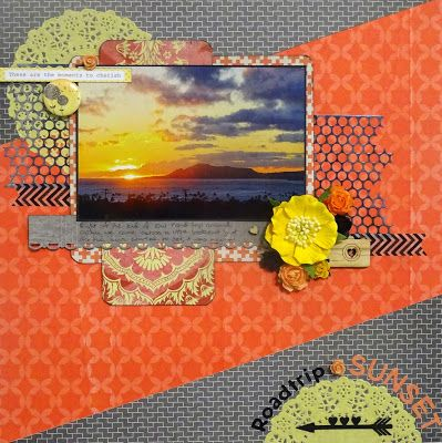 Let's Get Messy!: Roadtrip Sunset - D-lish Scraps DT  #scrapbook #holiday #vacation #Hawaii #sunset #layout