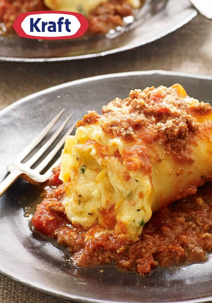 Creamy Lasagna Roll-Ups – Creamy cheese, pasta sauce, and ground beef get wrapped up in noodles and baked in this fun take on a traditional lasagna recipe.