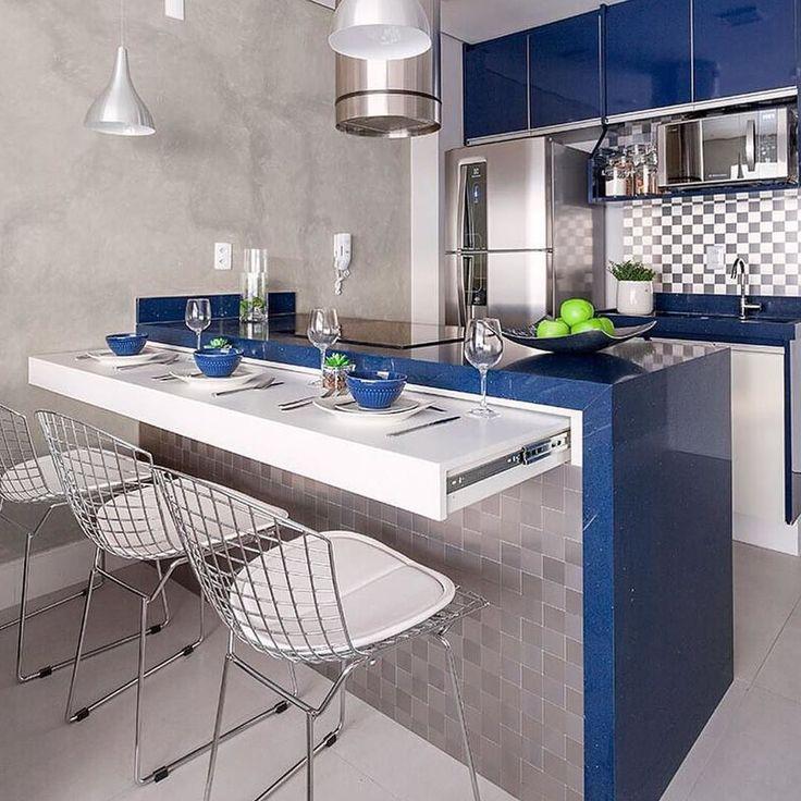 Decoração cozinha pequena. Decoração cozinha americana - Otimizando espaços bancada retrátil! {Projeto: Monise Rosa Arquitetura}