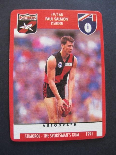 PAUL  SALMON (ESSENDON)- 1991  STIMOROL  CARD  NO. 19