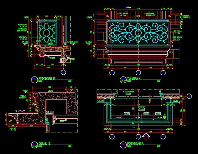 Gambar Kerja Detail Balkon File Dwg Balkon Lantai Autocad